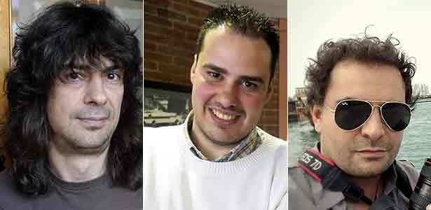 Da esq. para a dir.: José Manuel López, Antonio Pampliega e Ángel Sastre, os três jornalistas espanhóis desaparecidos na Síria