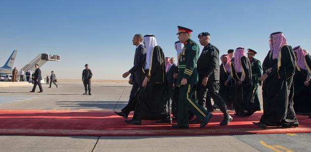 Visita de Barack Obama ao rei saudita Salman bin Abdulaziz Al Saud em 2015 - Stephen Crowley/The New York Times