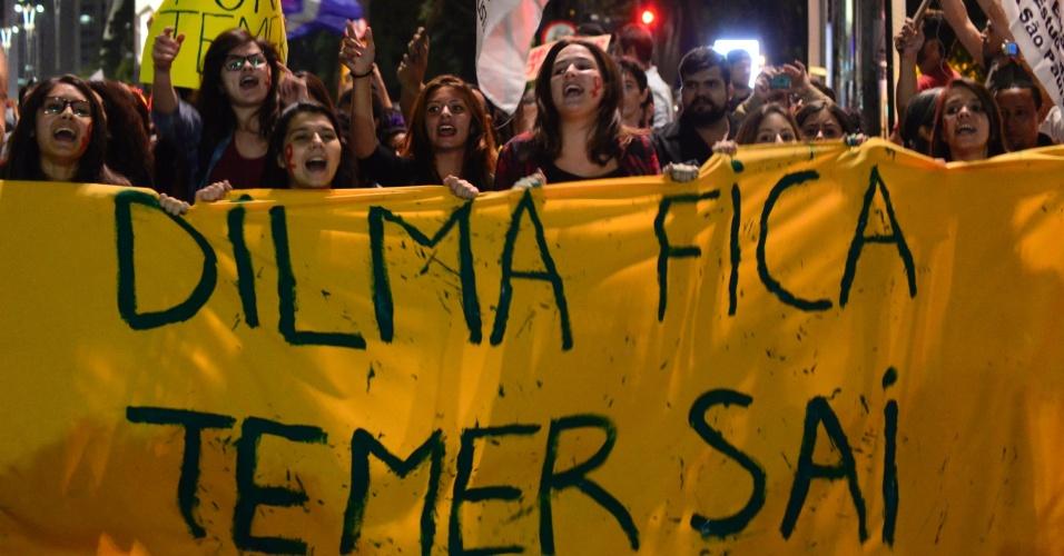 17.mai.2016 - Manifestantes protestam na capital paulista contra o governo do presidente interino Michel Temer. Eles pedem a volta de Dilma Rousseff, presidente afastada pelo processo de impeachment