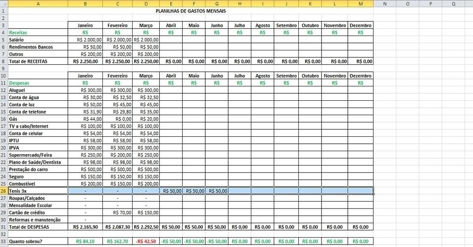 Este passo mostra como incluir na planilha o pagamento de um item (no caso um tênis) parcelado. No exemplo acima, o valor do tênis (R$ 150) comprado em março foi dividido em três vezes sem juros, com pagamento a ser iniciado em abril