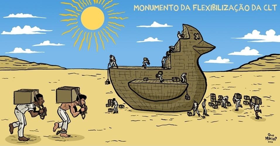 """16.set.2016 - Descobrimos o projeto do monumento à """"flexibilização"""" da CLT"""