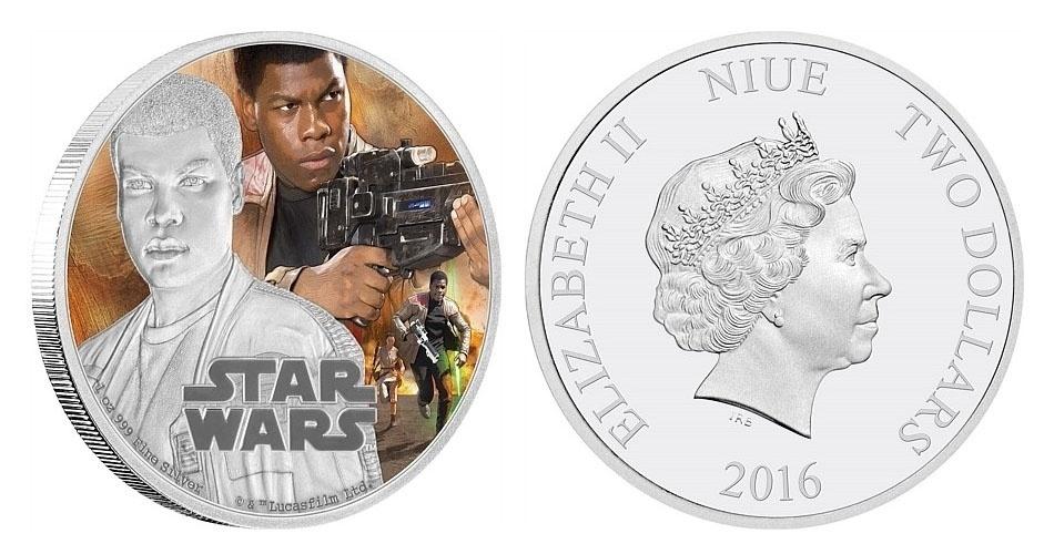"""Moeda de 2 dólares de Niue, ilha no Pacífico que é um território associado da Nova Zelândia, estampada com cenas de """"Star Wars: O Despertar da Força""""; a edição faz parte de uma série especial em comemoração ao lançamento do filme"""