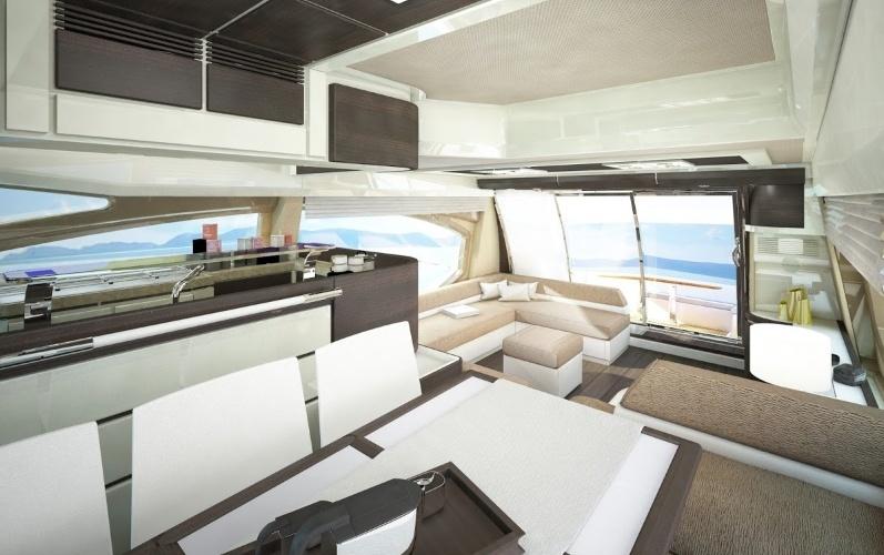 Iinterior do iate Azimut 70 com decoração assinada pela marca italiana Armani, da Azimut Yachts