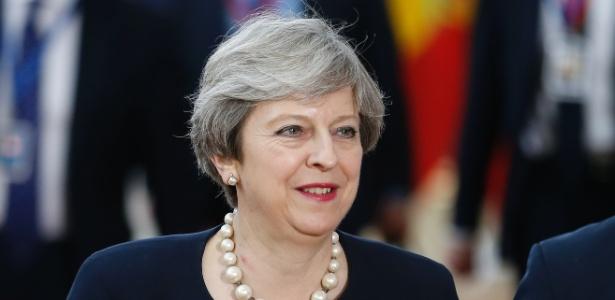 22.jun.2017 - A premiê britânica, Theresa May, chega para cúpula europeia em Bruxelas (Bélgica)