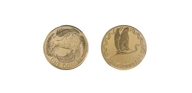 Nova Zelândia: Duas moedas em circulação no país também homenageiam pássaros. A de um dólar neozelandês tem a imagem de um apteryz, popularmente conhecido como kiwi, ave símbolo da Nova Zelândia. A de 2 dólares traz uma garça branca