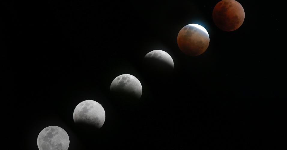 31.jan.2018 - Foto combinada mostra as diferentes formas da lua durante um eclipse lunar total visto de Makati City, nas Filipinas