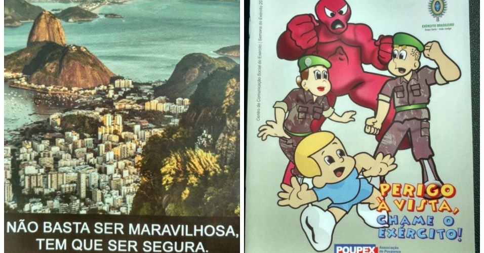 Panfleto do Disque Denúncia e HQ infantil distribuídos em ação militar em favela em São Gonçalo (RJ)