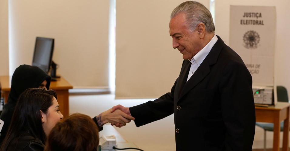 28.out.2018 - Presidente Michel Temer (MDB) vota em São Paulo