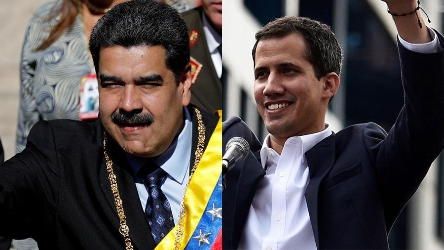 O deputado oposicionista Juan Guaidó e o presidente venezuelano Nicolás Maduro - Arte/UOL