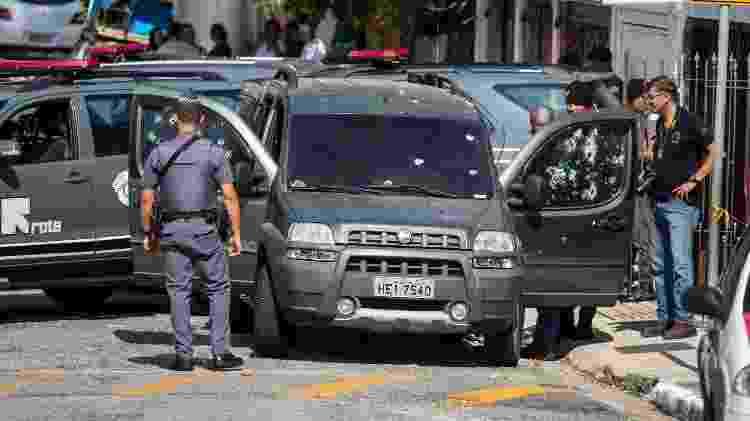 Carro do cabo da Rota fuzilado em maio de 2019 - Marcelo Gonçalves/Sigmapress/Estadão Conteúdo - Marcelo Gonçalves/Sigmapress/Estadão Conteúdo
