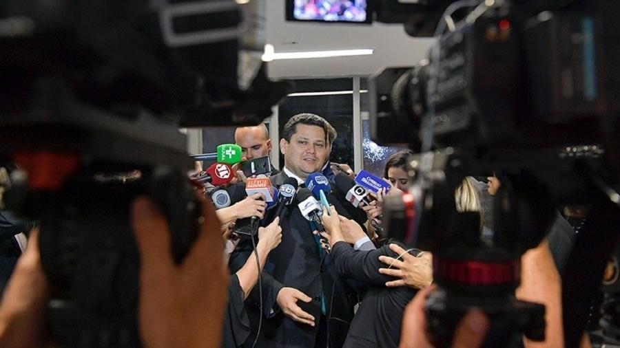 Presidente do Senado deu entrevista antes da reunião de líderes quando relatou que informou ao ministro da Economia sobre a intenção do Senado de analisar propostas para construir um novo pacto federativo - Marcos Brandão/Senado Federal