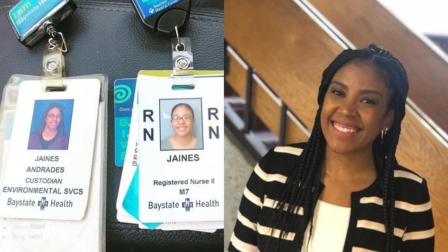 No final de setembro, Jaines foi promovida como enfermeira pelo hospital onde ela havia trabalhado como faxineira há 10 anos - Reprodução/Facebook/Jaines Andrades