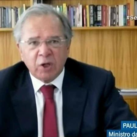 Paulo Guedes afirmou que 13º dos aposentados seria antecipado com aprovação do Orçamento - Reprodução/TV Senado