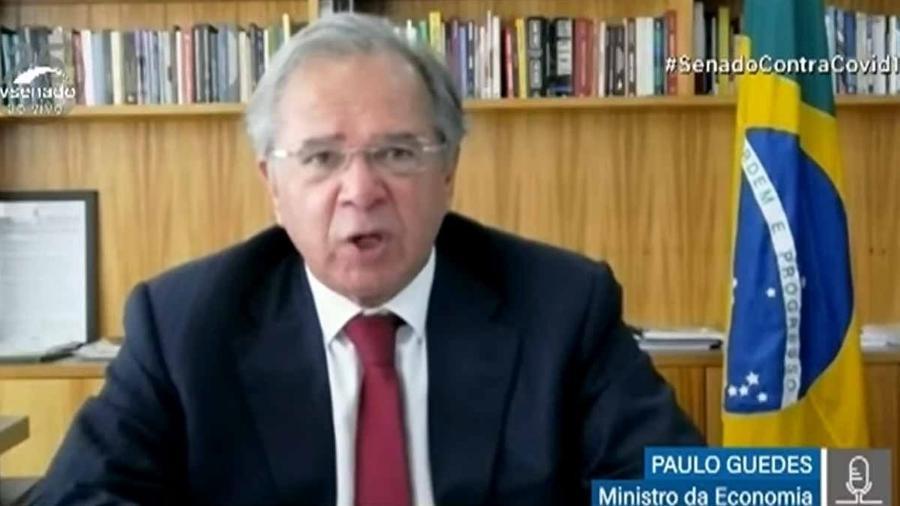 Ministro da Economia Paulo Guedes na Comissão Temporária Covid-19 do Senado - Reprodução/TV Senado