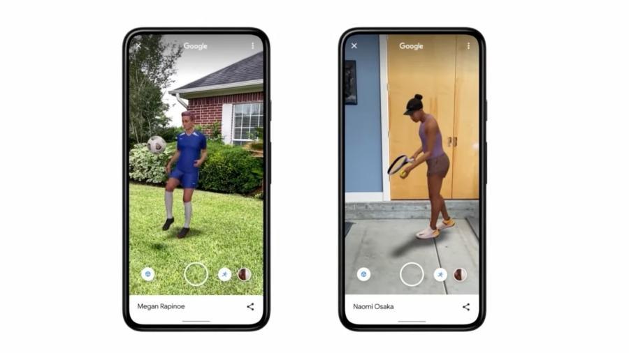 Jogadora de futebol Megan Rapinoe e tenista Naomi Osaka em 3D na busca do Google - Reprodução
