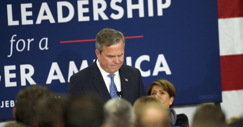 20.fev.2016 - Após nova derrota nas prévias da Carolina do Sul, Jeb Bush anuncia a suspensão de sua pré-campanha à presidência americana