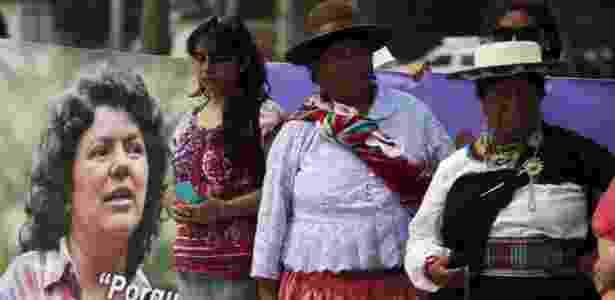 Mulheres participam de homenagem à ambientalista Berta Cáceres, em San Salvador, El Salvador - Jose Cabezas/Reuters