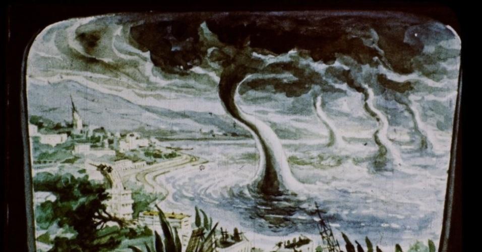 16.jan.2017 - A explosão cria tornados gigantescos que se aproximam de Moscou.