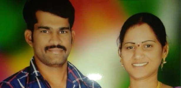 Swati Reddy (direita) e o marido assassinado, Sudhakar
