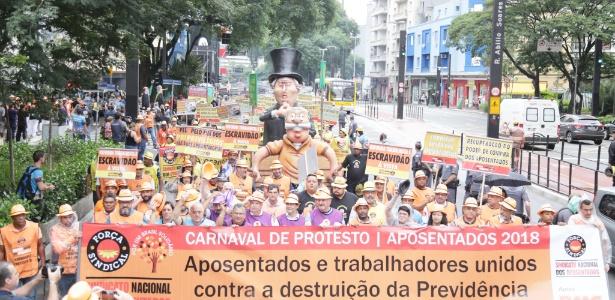 Carnaval de protesto do Sindicato Nacional dos Aposentados, em 30/1, em São Paulo