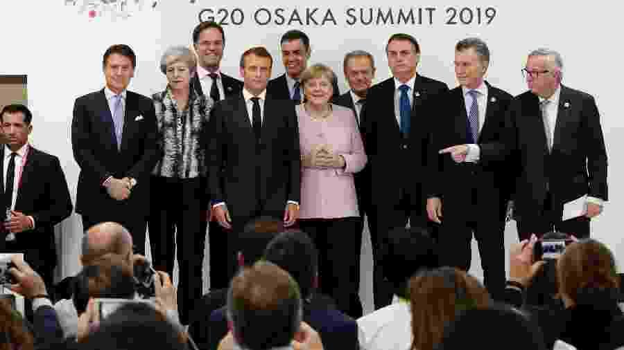 Presidente Jair Bolsonaro na apresentação do acordo entre União Europeia e Mercosul, no G20, em Osaka (Japão) - Alan Santos - 29.jun/19/PR
