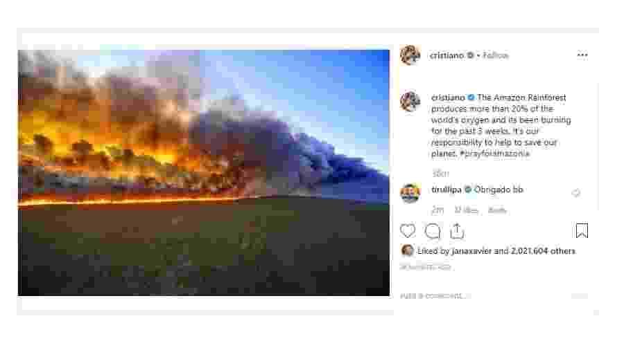 Cristiano Ronaldo faz postagem sobre queimadas na Amazônia  - Reprodução/Instagram