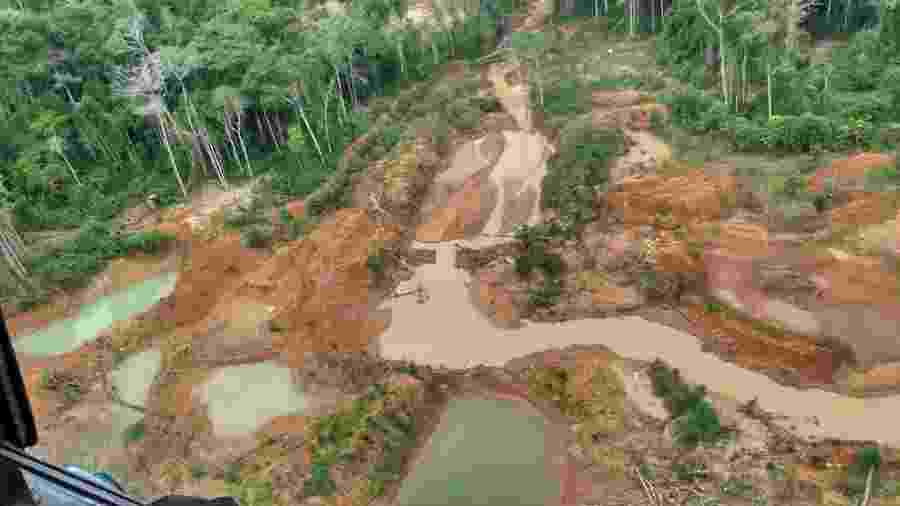 Operação da PF flagra a extração ilegal de minérios na Terra Indígena Roosevelt, em Rondônia, na divisa com o Mato Grosso - Divulgação