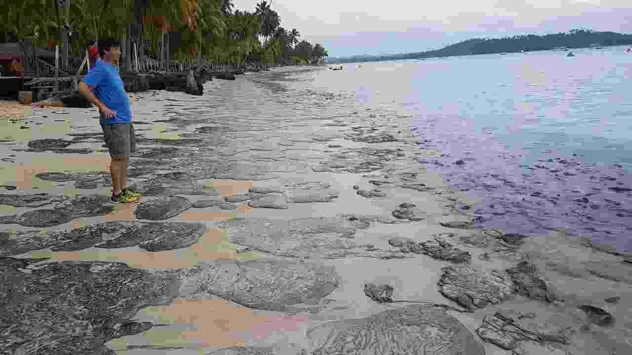 A praia de Carneiros, em Tamandaré (PE), amanheceu hoje manchada de petróleo cru - Clemente Coelho / Instituto Bioma Brasil