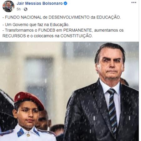 Publicação de Jair Bolsonaro no Facebook - Reprodução