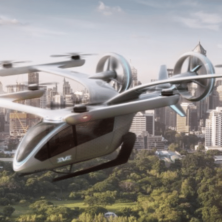 """Imagem computadorizada de possível """"carro voador"""", batizado de eVTOL, desenvolvido por braço da Embraer - Embraer/Divulgação"""