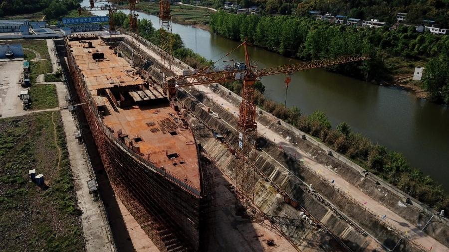 Réplica do Titanic tem 260 metros de comprimento na China, igual ao navio original  - NOEL CELIS / AFP