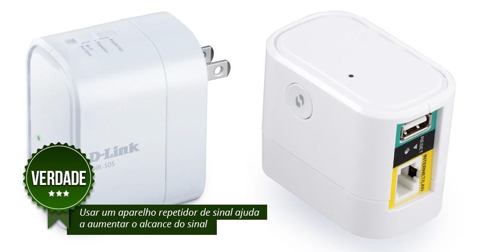 VERDADE: Os repetidores de sinal são capazes de captar a onda emitida pelo roteador --geralmente a partir da eletricidade-- e espalhá-la para os outros cômodos da casa. O recurso favorece o alcance de sinal principalmente em ambientes grandes e com muitos obstáculos
