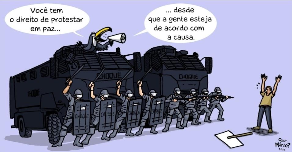 20.jan.2016 - A Polícia Militar dá o seu recado durante as manifestações de rua