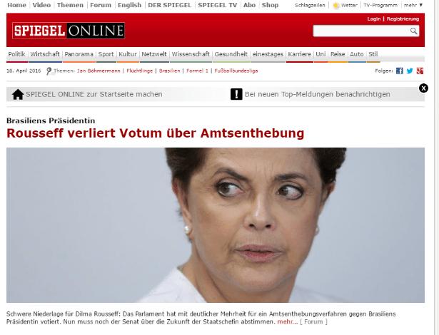 """A revista alemã """"Spiegel"""" noticia a votação do impeachment da presidente Dilma Rousseff"""