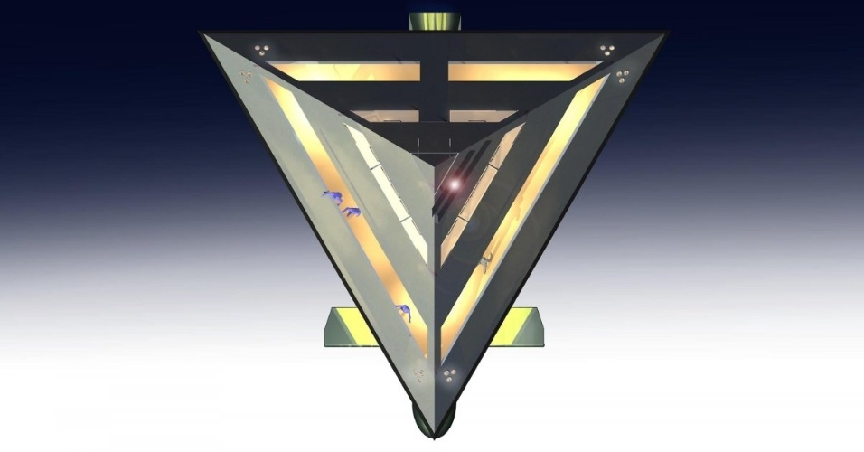 O formato de pirâmide, segundo Jonathan Schwinge, dá estabilidade ao iate