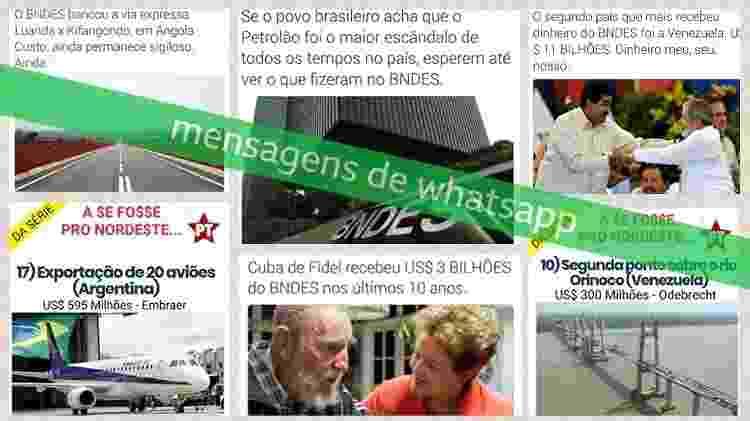 Mensagens de WhatsApp sobre o BNDES compartilhadas nas vésperas do segundo turno das eleições 2018, coletadas pelo Projeto Eleições Sem Fake - Letícia Mori/BBC News Brasil