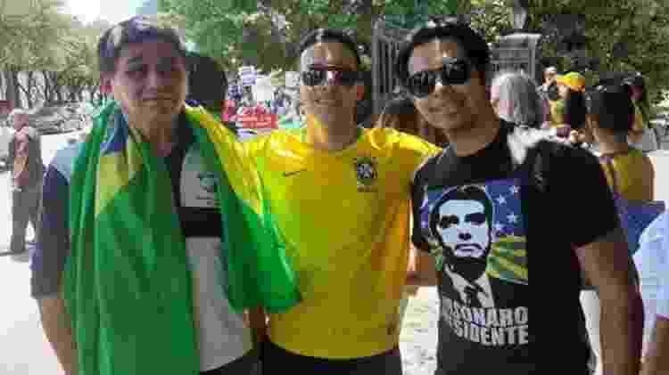 Brasileiros foram à manifestação 'dar uma força' a Bolsonaro; do outro lado, principalmente estrangeiros protestavam contra ele - João Fellet/BBC Brasil