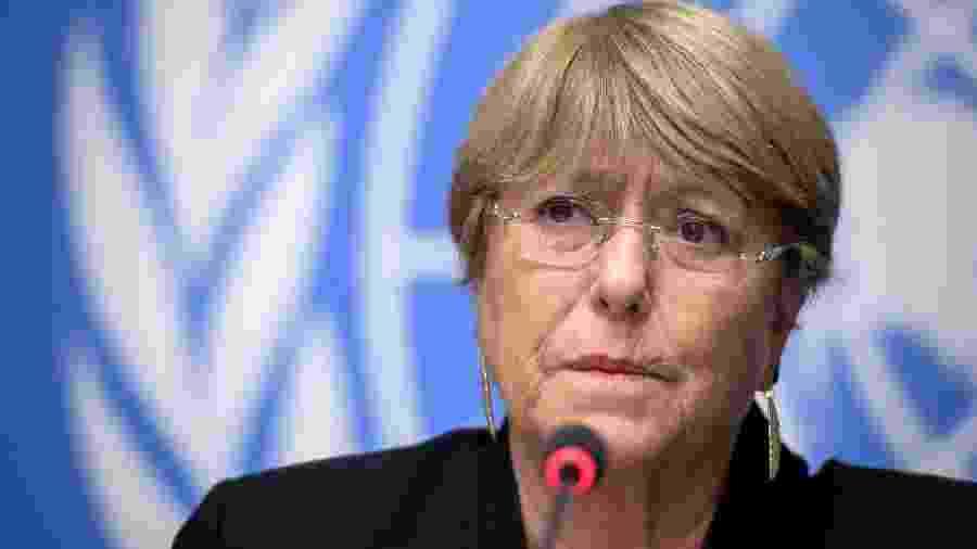 4.set.2019 - A chilena Michelle Bachelet, Alta Comissária da ONU para Direitos Humanos, durante entrevista coletiva em Genebra - Fabrice Coffrini/AFP