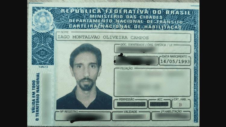 12.dez.2019 - Carteira de habilitação de Iago Montalvão - Arquivo pessoal