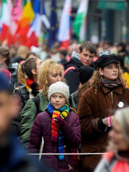 Ativista do clima Greta Thunberg durante protesto em Bruxelas - Johanna Geron