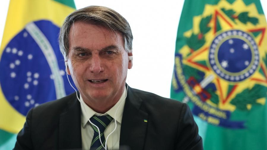 28.mai.2020 - Presidente Jair Bolsonaro participa de videoconferência com Andrzej Sebastian Duda, presidente da Polônia - Marcos Corrêa/PR