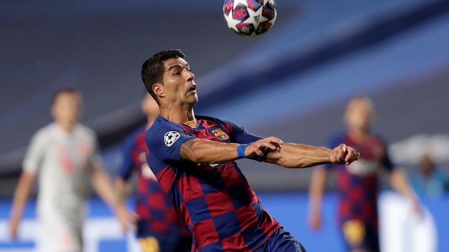 Luis Suarez durante partida entre Barcelona e Bayern de Munique em Lisboa -