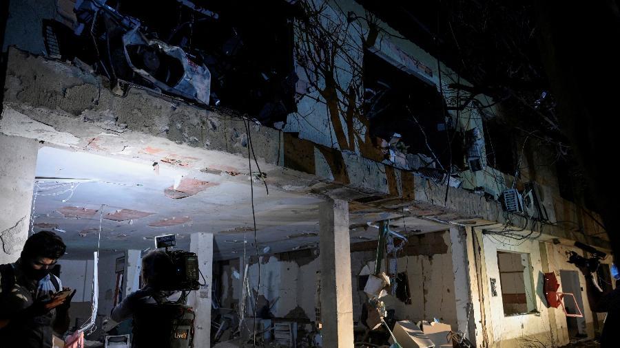 15.jun.2021 - Instalações destruídas de uma base militar, que segundo as autoridades foi devido à explosão de um carro-bomba, é vista em Cúcuta, na Colômbia - REUTERS / Stringer