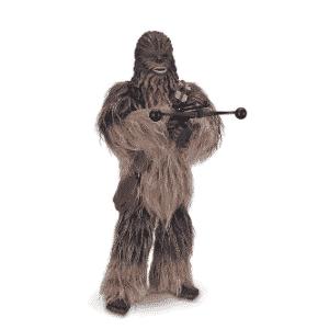 Boneco interativo Star Wars Chewbacca, da marca ToyngCom. Tem aproximadamente 40 centímetros de altura, braços e pernas articulados. Toca músicas e possui efeitos de voz e sons originais do filme. Custa R$ 1.599,99 no site da Ri Happy - Divulgação