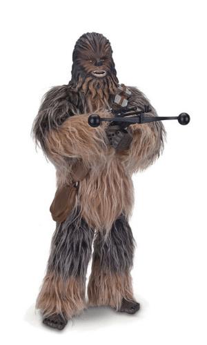 Boneco interativo Star Wars Chewbacca, da marca ToyngCom. Tem aproximadamente 40 centímetros de altura, braços e pernas articulados. Toca músicas e possui efeitos de voz e sons originais do filme. Custa R$ 1.599,99 no site da Ri Happy