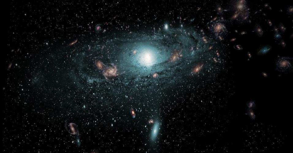 10.fev.2016 - Representação artística das galáxias descobertas por astrônomos ao redor da Via Láctea