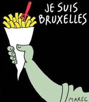 22.mar.2016 - O cartunista Marec usou as batatas-fritas belgas em sua homenagem às vítimas dos ataques terroristas em Bruxelas