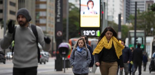 Termômetro marca 13ºC na manhã desta terça na avenida Paulista