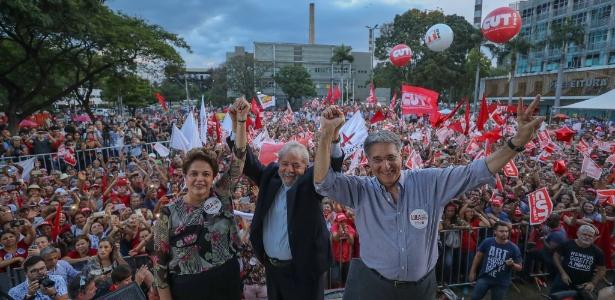 Lula participa de evento em Minas ao lado de Dilma e de Pimentel em imagem divulgada em seu perfil  - Divulgação/Ricardo Stuckert