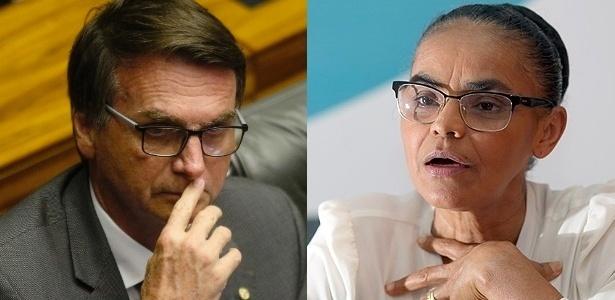 Os presidenciáveis Jair Bolsonaro (PSC-RJ) e Marina Silva (Rede)